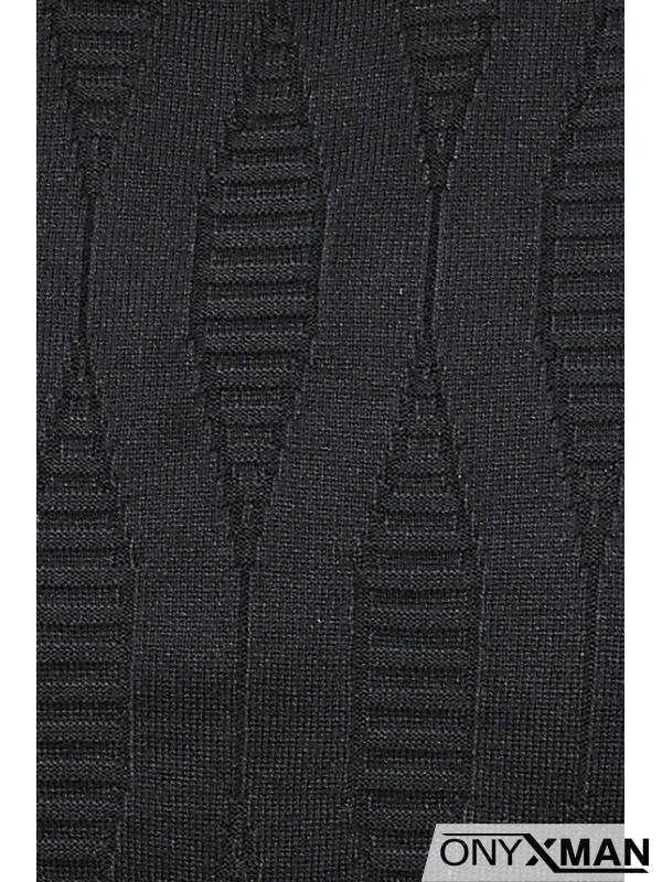 Стилна блуза плетиво в черно