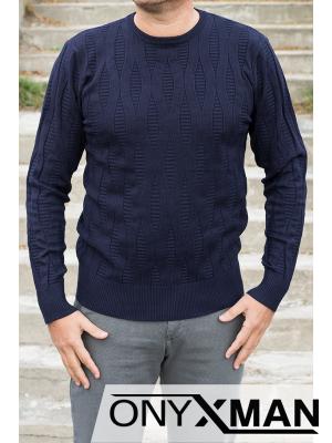 Стилна блуза плетиво в тъмно синьо