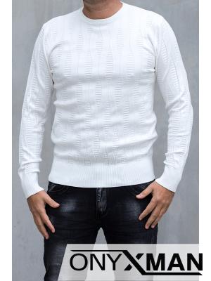 Стилна блуза плетиво в бяло