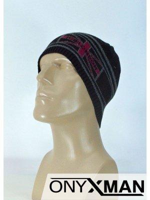 Зимна мъжка плетена шапка в два цвята