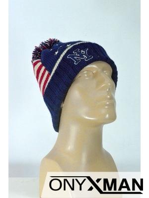 Зимна мъжка шапка с папулка