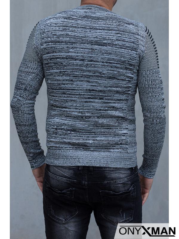 Силно втален тънък пуловер в сиво