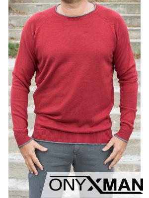 Блуза плетиво в цвят керемида