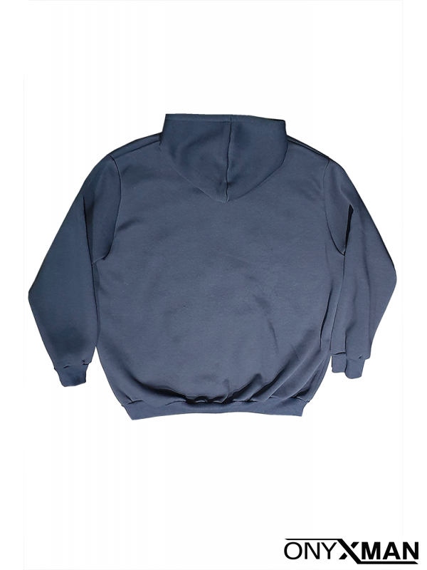 Суичър в синьо с качулка Големи размери
