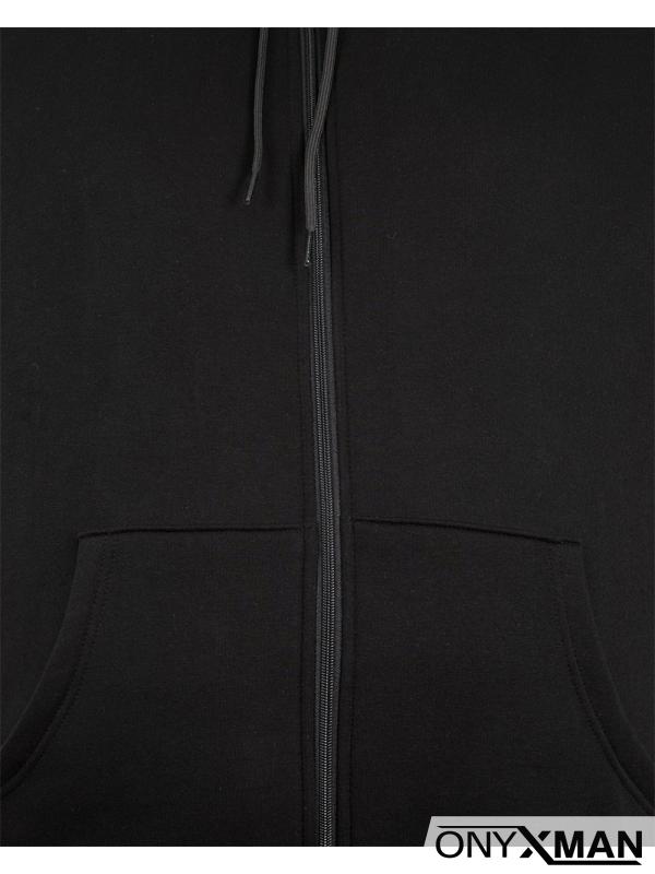 Чисто черен ватиран суичър Големи размери