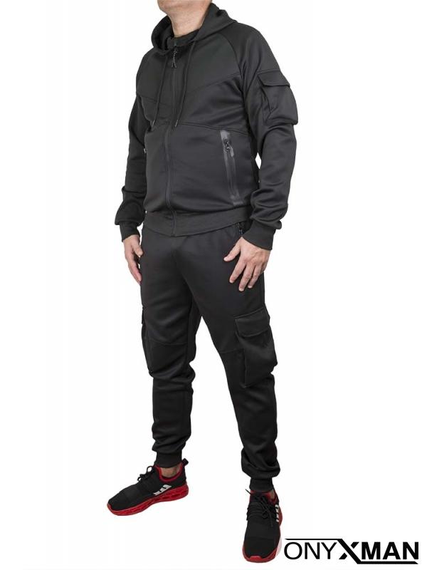 Черен спортен комплект с карго джобове