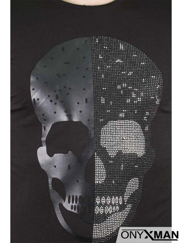 Памучна тениска с щампа череп