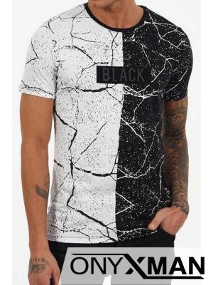 Двуцветна тениска на пръски