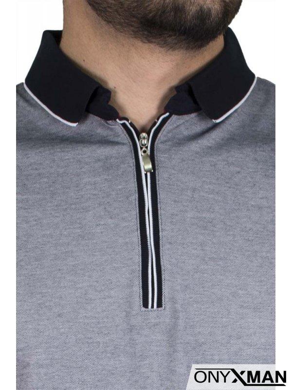 Семпла тениска с яка и цип в сиво