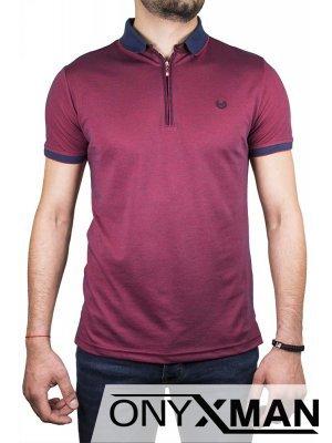 Семпла тениска с яка и цип в бордо