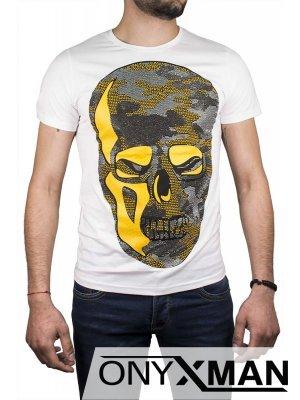 Втален тишърт с череп и жълта кожа