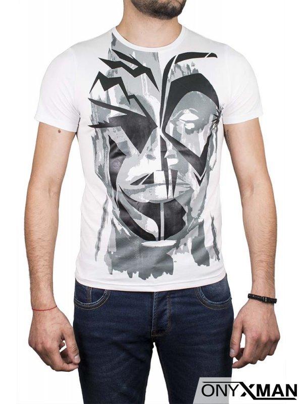 Абстрактна тениска в черно