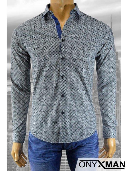 Модерна мъжка риза с принт на геометрични цветя