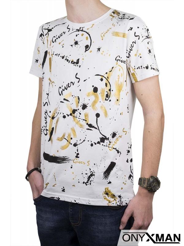 Бяла тениска с геометричен принт