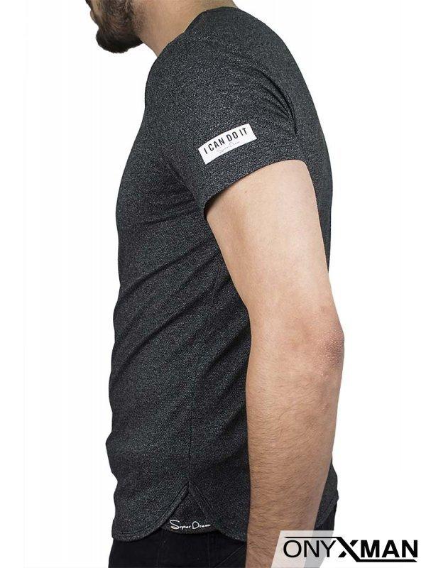 Вталена тениска в тъмно сиво Find