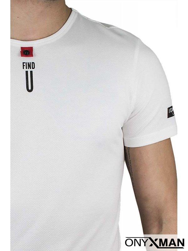 Вталена тениска в бяло Find