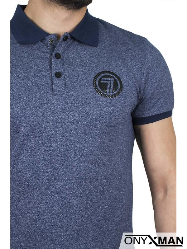 Тениска с якичка в синьо с цифра 7