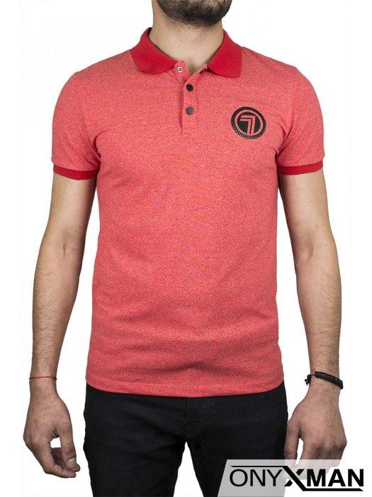 Тениска с якичка в червено с цифра 7