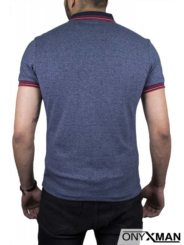 Тениска с якичка и сърф в синьо