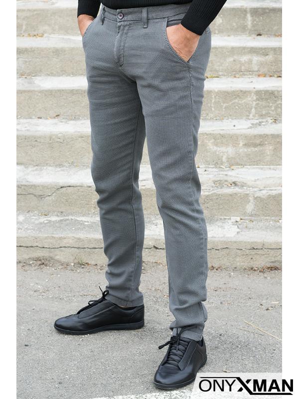 Модерен мъжки спортно-елегантен панталон в сиво