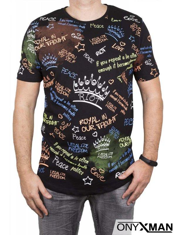 Тениска с цветни надписи