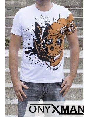 Бяла тениска с прин череп