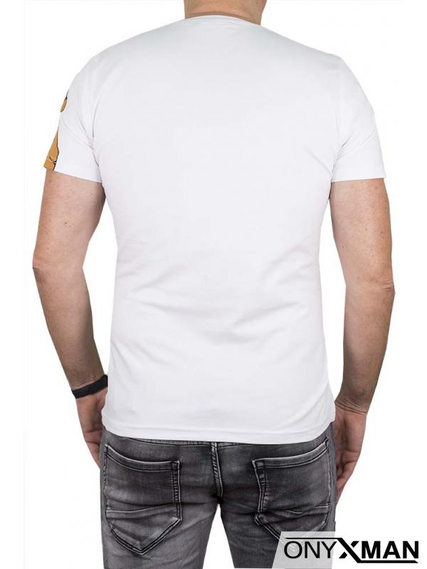 Бяла тениска с принт череп