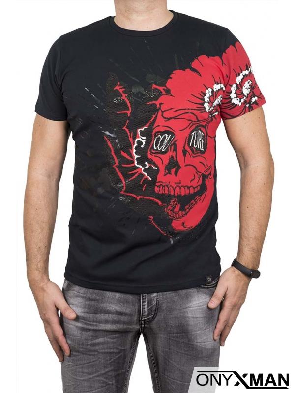 Цветна тениска с принт череп