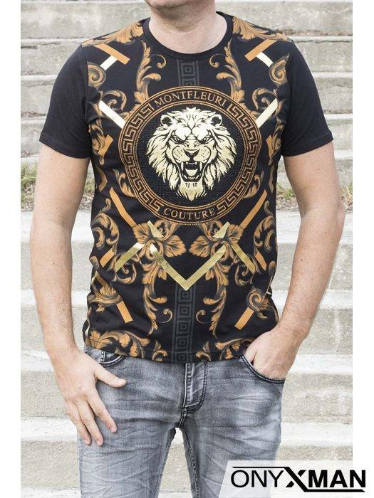 Черна тениска с принт лъв