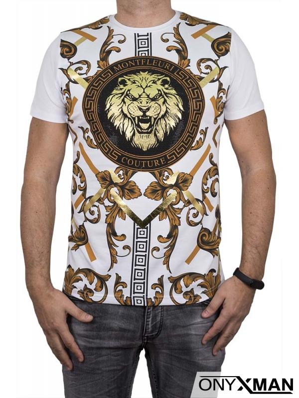Бяла тениска с принт лъв