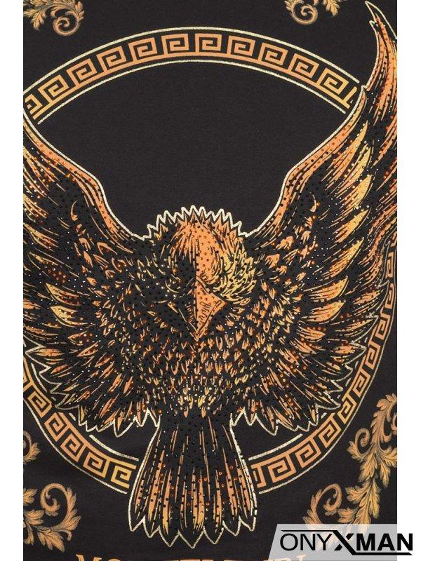 Черна тениска с принт орел