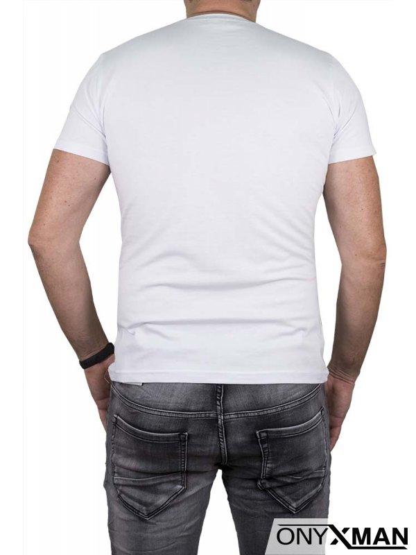 Бяла тениска с принт орел
