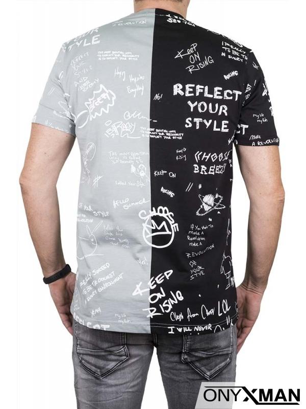Двуцветна тениска в сиво и черно