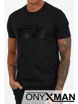 Черна тениска с плюшен надпис