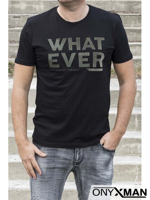 Черна тениска с гумиран надпис