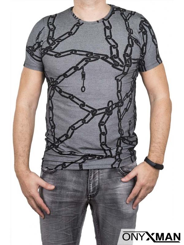 Сива тениска с вериги