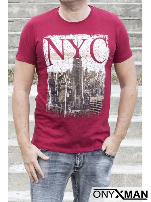 Тениска в червено Ню Йорк