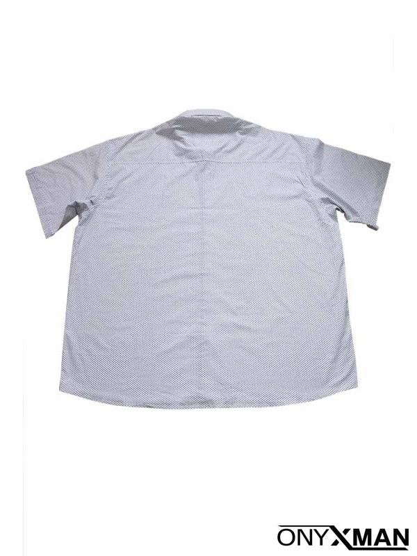 Стилна мъжка риза в бяло с къс ръкав