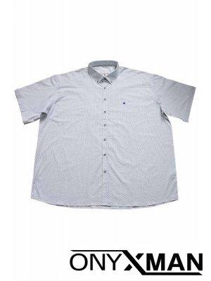 Стилна мъжка риза в бяло с къс ръкав Големи Размери