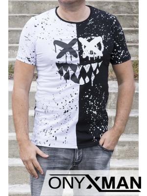 Вталена тениска в бяло и черно