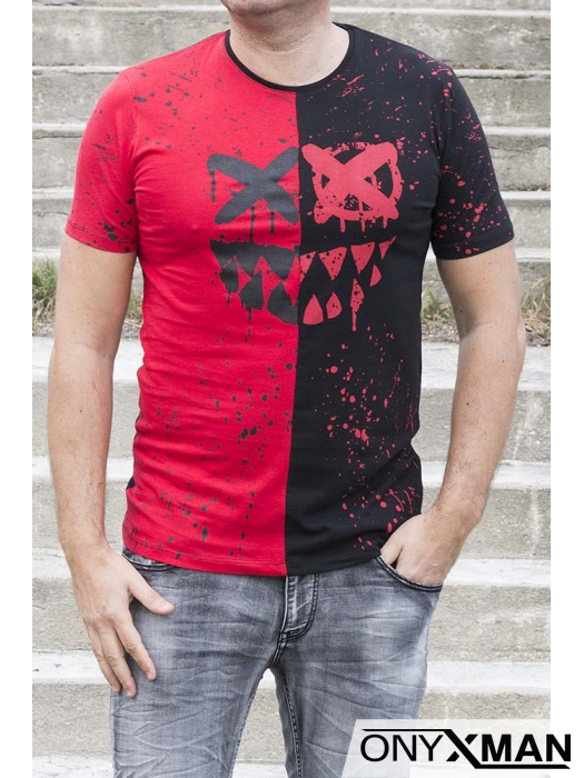Вталена тениска в черно и червено