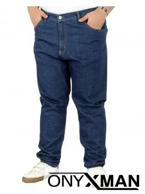 Мъжки дънки от син деним Големи размери
