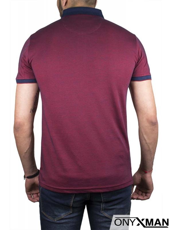 Мъжка тениска с яка в бордо
