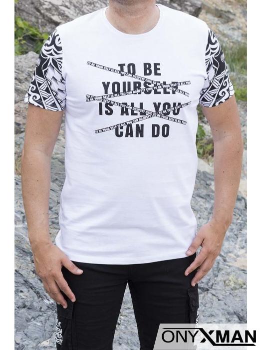 Мъжка тениска с интересен принт в два цвята