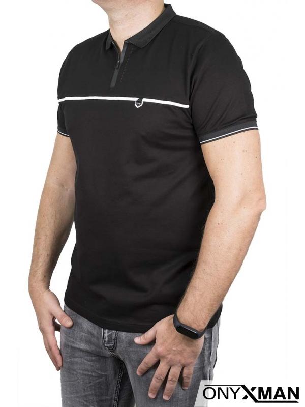 Стилна поло тениска в черен цвят