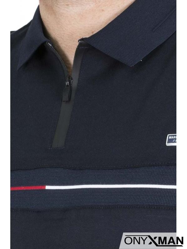 Стилна поло тениска с цип в син цвят