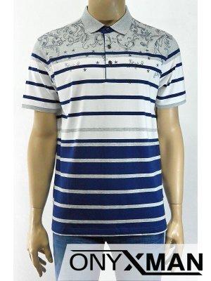 Стилна мъжка тениска с яка в два цвята