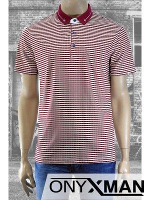 Модерна мъжка тениска с яка и десен на райе в два цвята