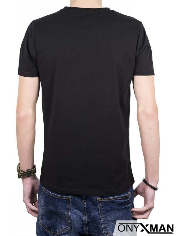 Черна тениска с принт Жокер и камъни