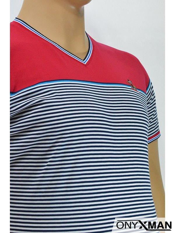 Модерна мъжка тениска с десен на райе